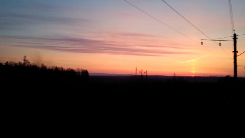 Zonsondergang trein