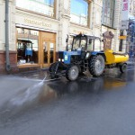 Ook de stoep is schoon in Moskou!